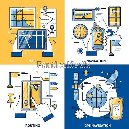 navigation 2x2 design concept with global