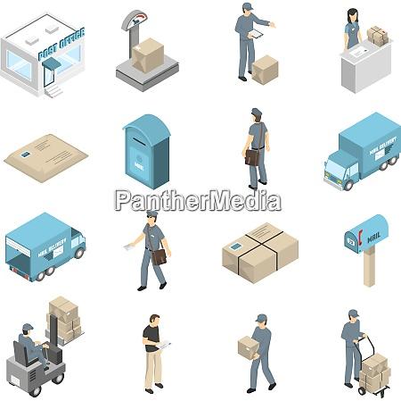 postoffice service isometrische symbole sammlung mit