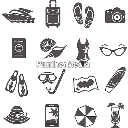 summer holiday travel agency black icons