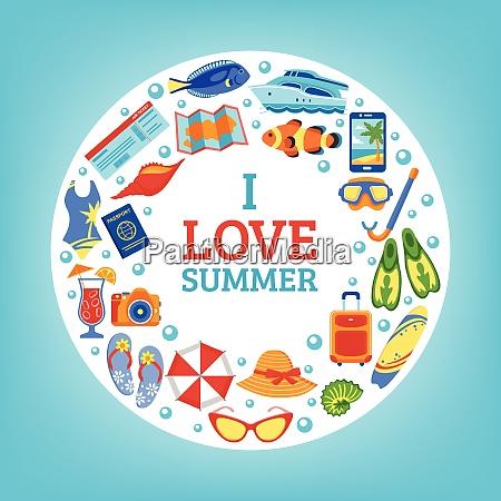 i love summer holiday travel icons