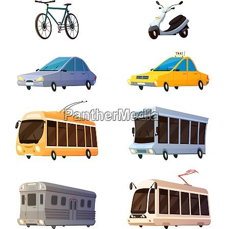 city transport retro cartoon icons set