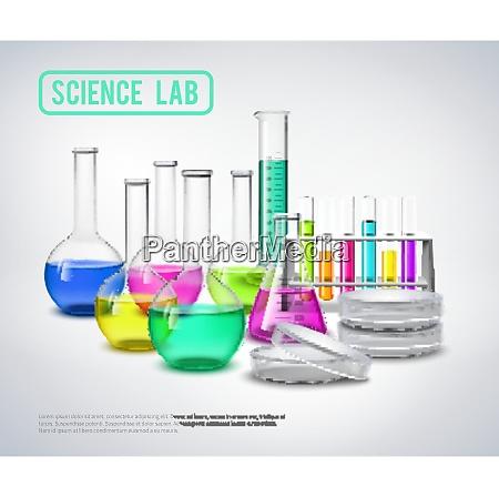 laborflaschen zusammensetzung mit farbfluessigkeiten in glaesern