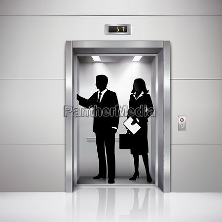formal gekleidet mann und frau silhouetten