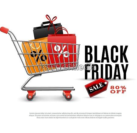 black friday verkauf plakat mit einkaufswagen