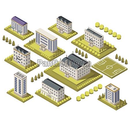 isometrische universitaet set mit sportplatz und