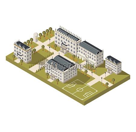 isometrisches universitaetscampuskonzept mit universitaetssportplatz und parkvektor