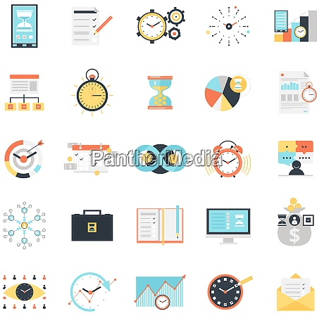 time management icons set with charts