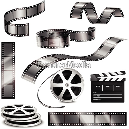 realistic clapper blank photographic strips and