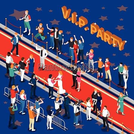 vip party mit prominenten auf rotem