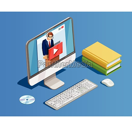online bildung icon isometrische zusammensetzung mit