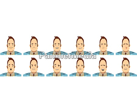 satz von avataren mit maennlichen emotionen