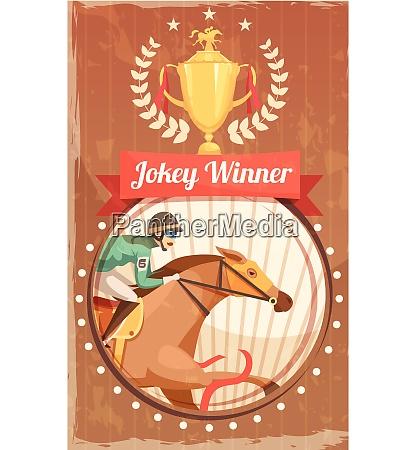 jockey gewinner vintage poster mit champion