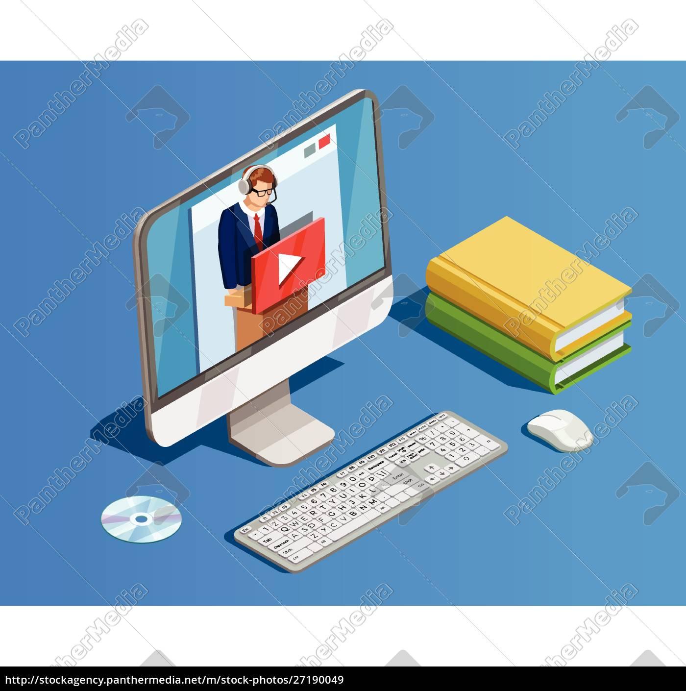 online-bildung, icon, isometrische, zusammensetzung, mit, büchern - 27190049