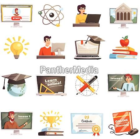 online lernen flach farbige symbole gesetzt