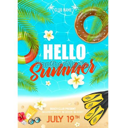 tropische sommer urlaub strand club bunte