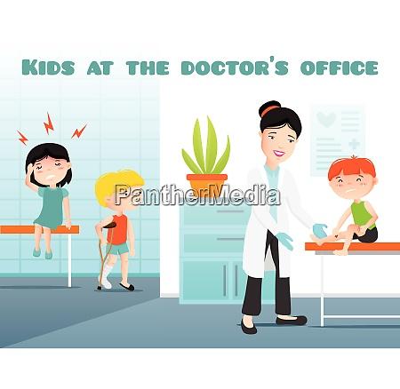 kids at doctors office cartoon vector