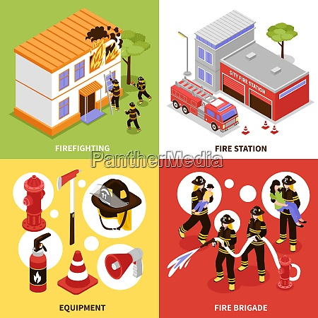 isometric firefighter 2x2 design concept with