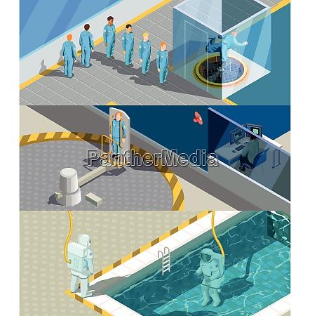 astronauten trainingsprogramm isometrische horizontale kompositionen mit