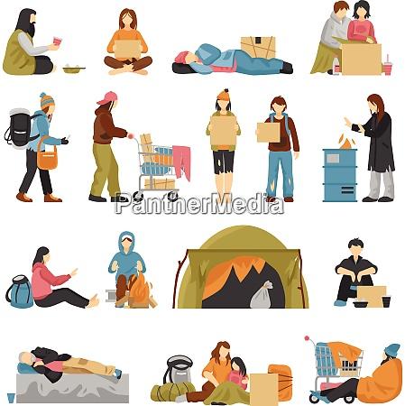 obdachlose maennliche und weibliche menschen mit