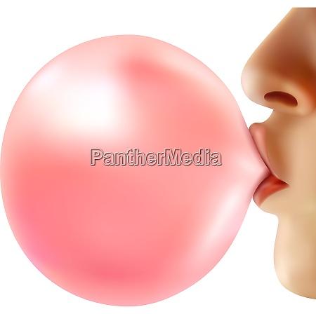weibliche lippen halten glaenzende rosa blase