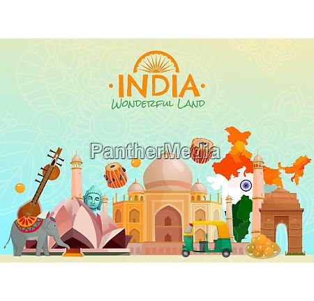 colorful travel poster with taj mahal