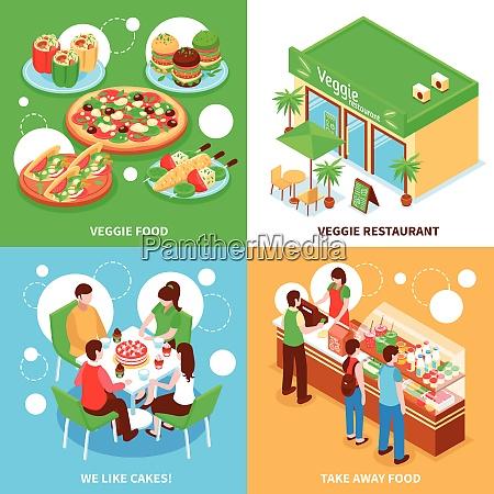vegetarian 2x2 design concept set of