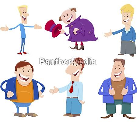funny men cartoon characters set