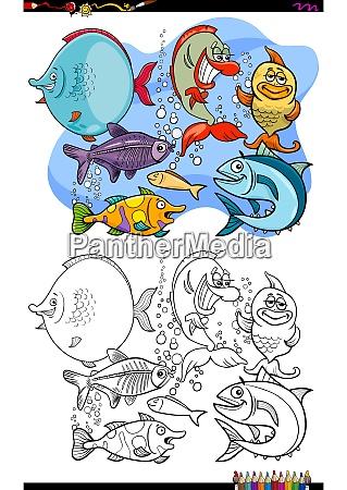 glueckliche fisch tier zeichen gruppe farbbuch