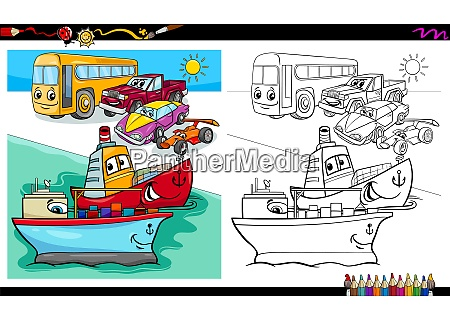 cars and ship characters coloring book