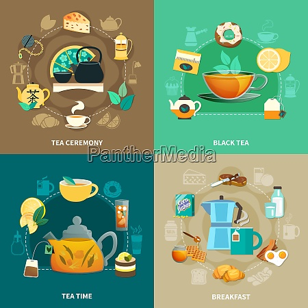 design concept with black tea drinking
