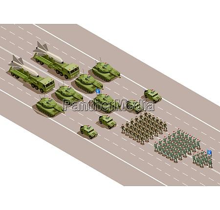 militaerische parade isometrische zusammensetzung mit regimentern