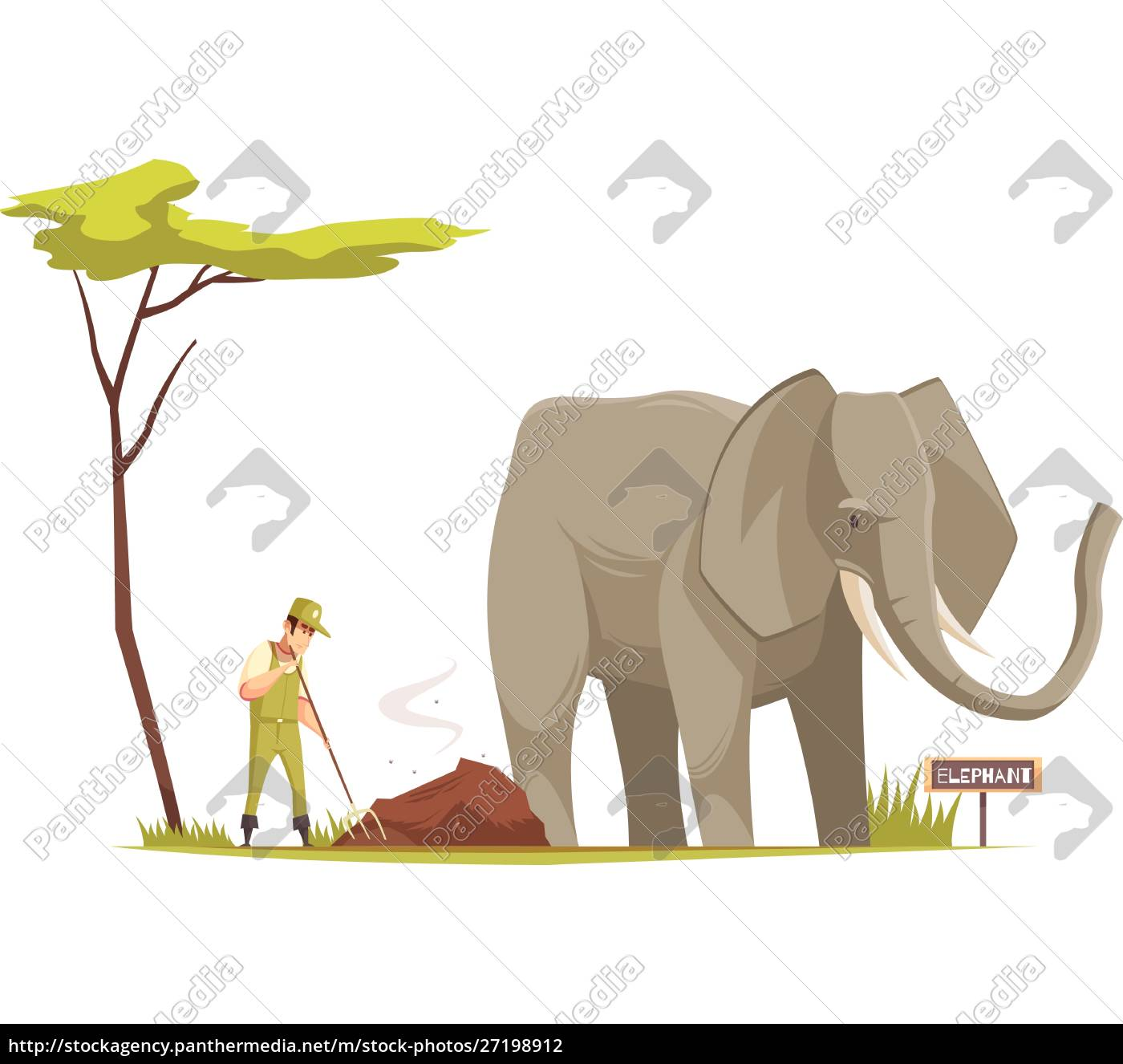 elephant, standing, outdoor, and, zoo, keeper - 27198912