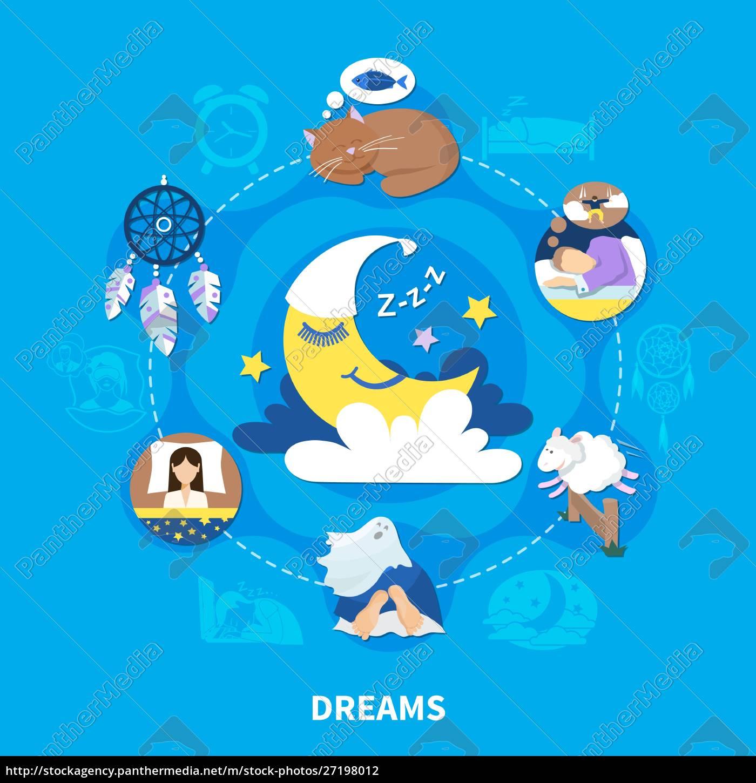 nacht, träume, flache, symbole, kreis, zusammensetzung - 27198012