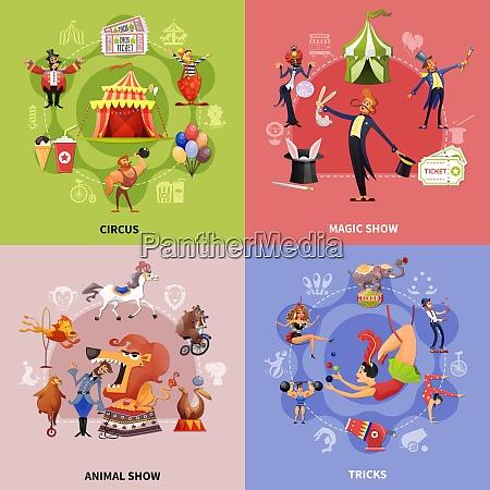 zirkus cartoon konzept mit zirkus magie