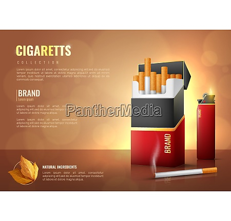 tabakprodukte realistische plakat mit zigaretten markensymbole