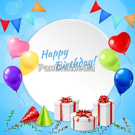 happy birthday celebration party round realistic