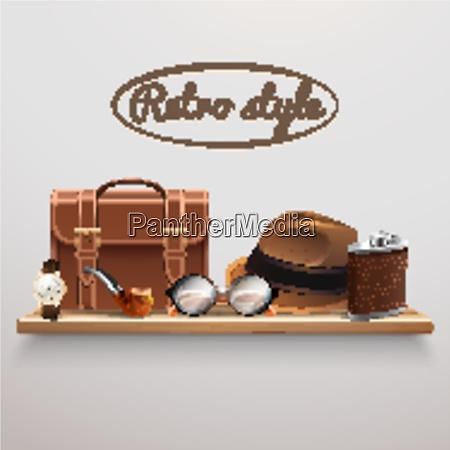 retro style gentleman accessories on wooden
