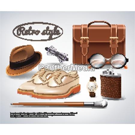 classic retro gentleman accessories realistic set