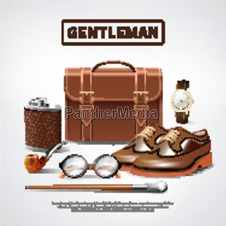 classic retro gentleman accessories realistic composition