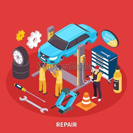 auto service isometrisches konzept mit reparaturwerkssymbolen
