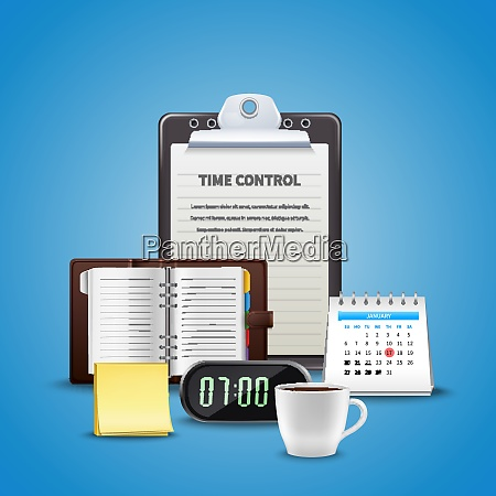 time management realistic concept with different