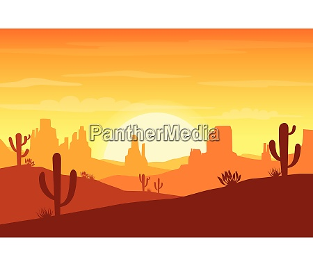 desert landscape at sunset with cactus