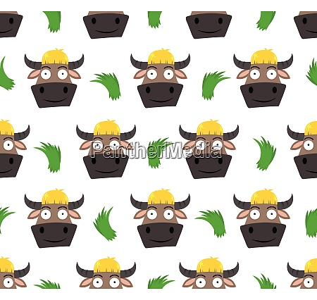 seamless pattern of cute buffalo cartoon
