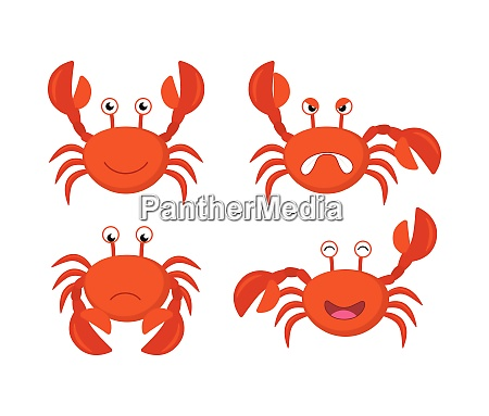 cute cartoon red crabs vector set