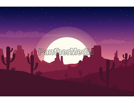 desert landscape at night with cactus