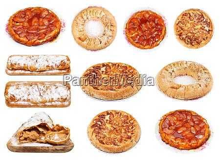 sammlung von verschiedenen apfelkuchen isoliert auf