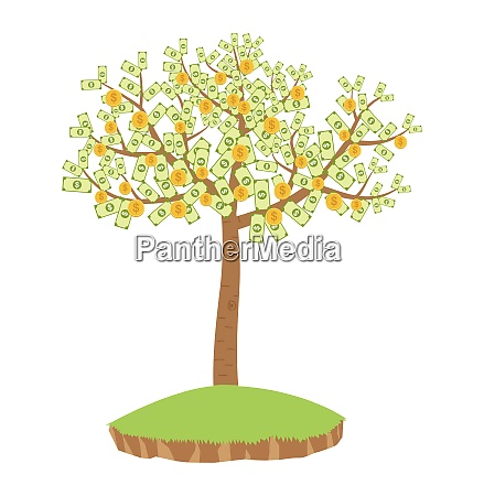 money tree with dollar banknotes and