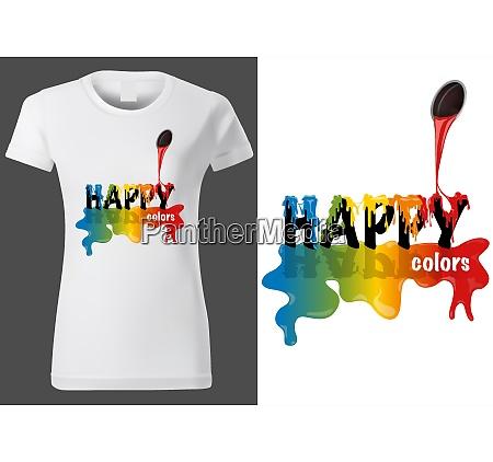 t shirt design with inscription happy