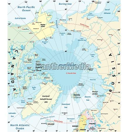 karte der arktis mit der geringsten