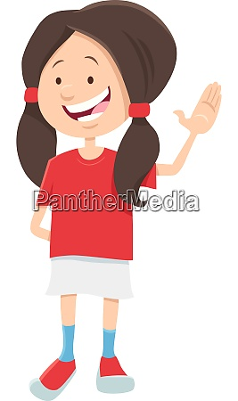 happy teen girl character cartoon illustration